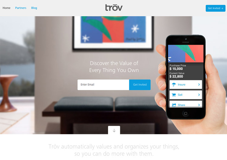 The Trov homepage as an example of a stylish landing page in web design ux