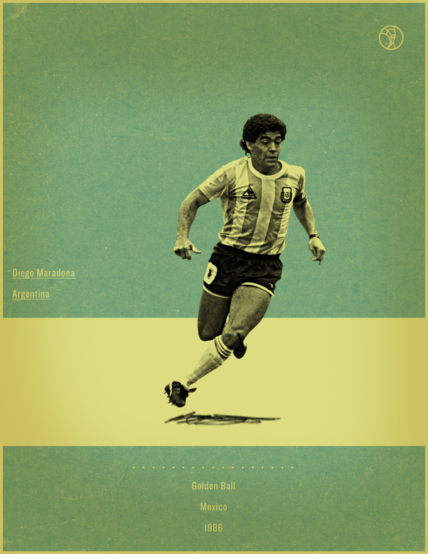 Diego Maradona Mexico 1986 world cup fifa golden ball winner poster illustation