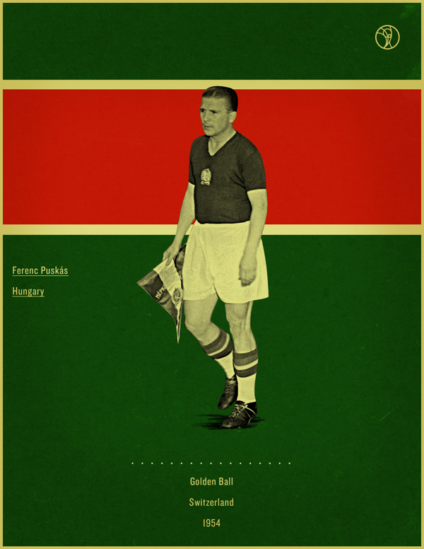 Ferenc Puskas Switzerland 1954 world cup fifa golden ball winner poster illustation