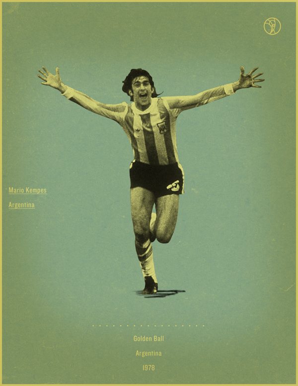 Mario Kempes Argentina 1978 world cup fifa golden ball winner poster illustation