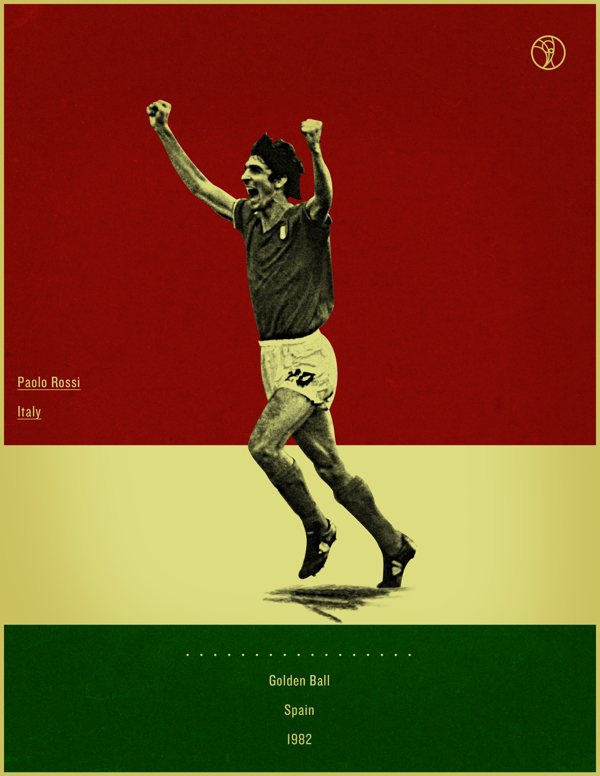 Paolo Rossi Spain 1982 world cup fifa golden ball winner poster illustation