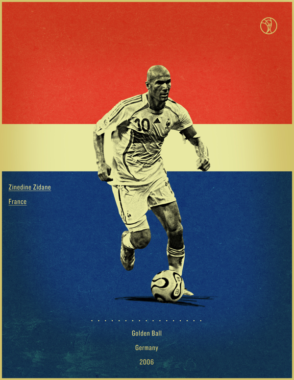 world cup fifa golden ball winner poster illustation Zindeine Zidane Germany 2006