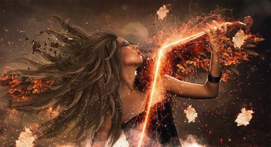 PS教程:创建激烈昂扬的小提琴浴火天使