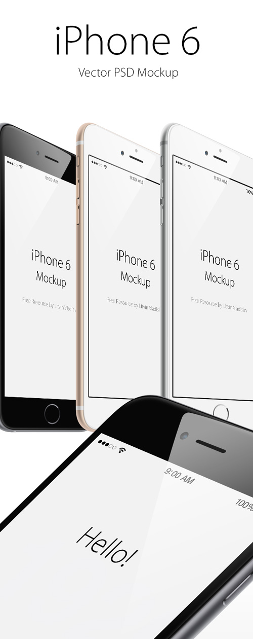 Free iPhone 6 and iPhone 6 Plus Mockup Templates (PSD, AI & Sketch) - Free Download - 20