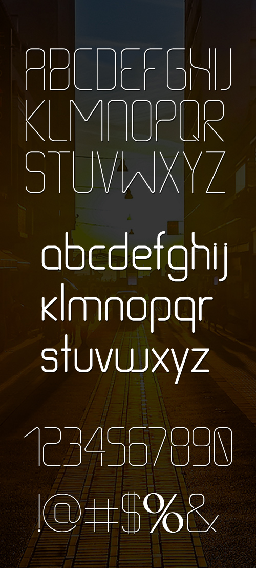 Thin Line free font letters