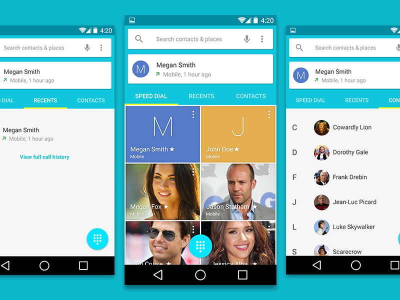 Android L Contacts User Interface PSD