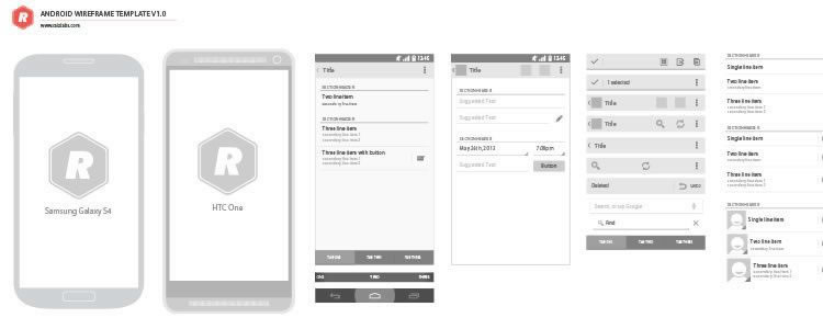 Android Vector Wireframing Toolkit AI