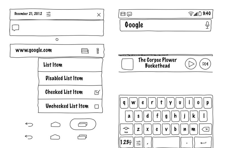 Android UI Mockup Templates from GUI Toolkits Illustrator, Fireworks, Axure, OmniGraffle, Visio, Keynote and PowerPoint