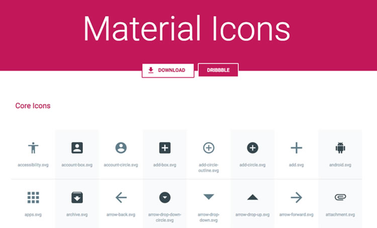Material Icons Pack by Benjamin Schmidt