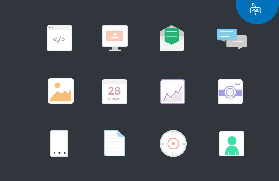 Free Vector Flat Icons PSD
