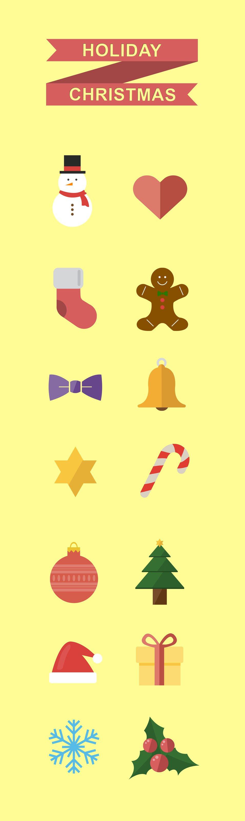 Holiday Christmas Icons PSD