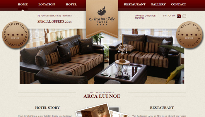 arca lui noe hotel chain website homepage