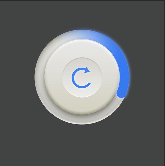 PS图标教程!简单7步绘制精致的蓝白渐变同步按钮