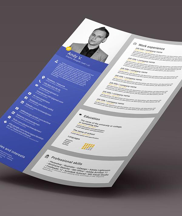 Free CV Template PSD