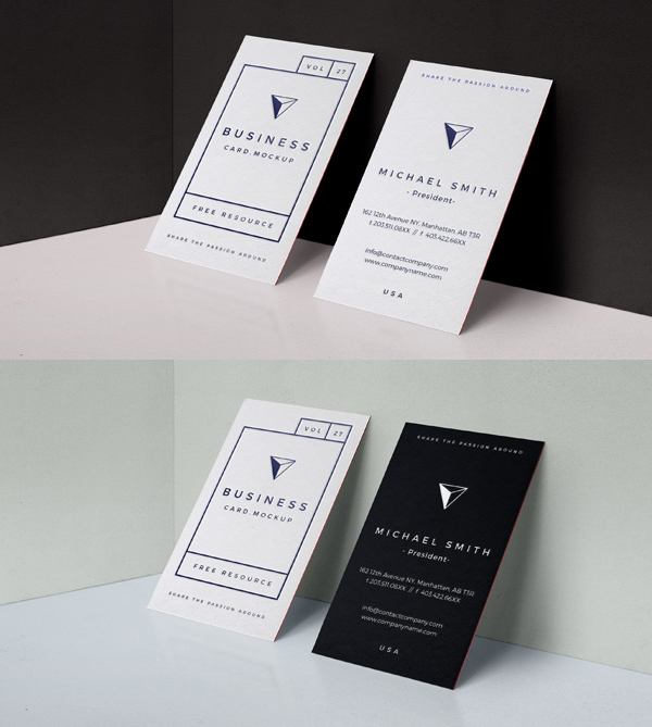 Free PSD Embose Business Card Mock-Up