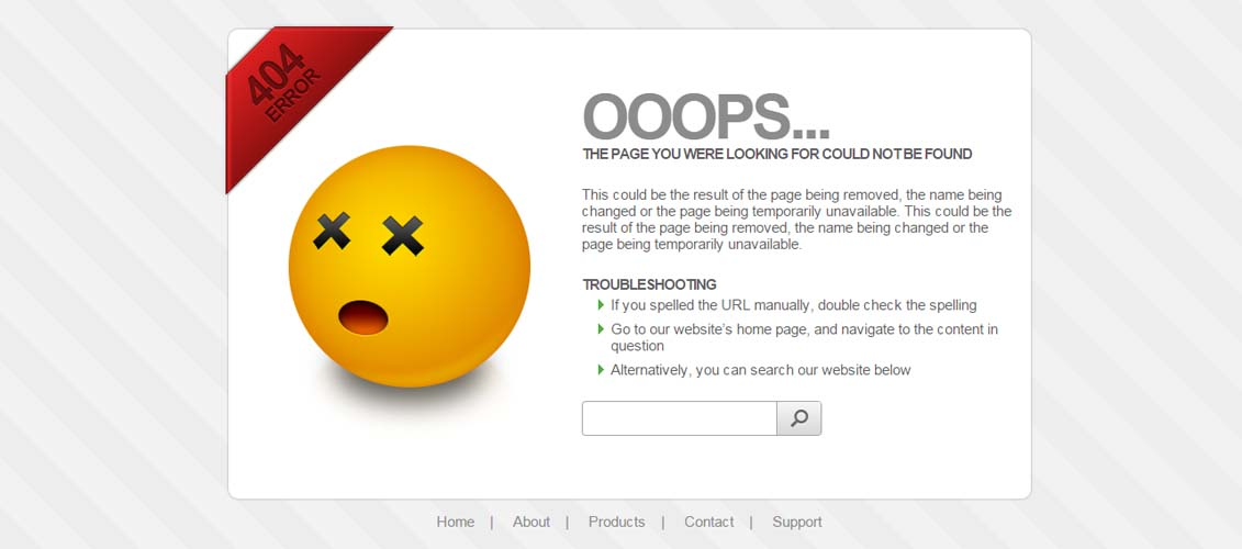 Stylish 404 error page - 5 color schemes