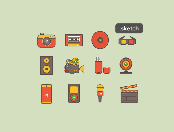 Free Media Icons Sketch