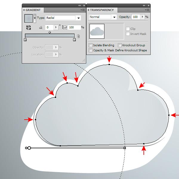 AI新手教程!手把手教你绘制一枚玻璃质感的云图标