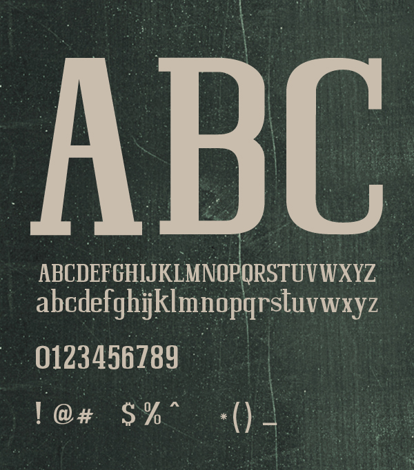 Bohemia SlabSerif font letters