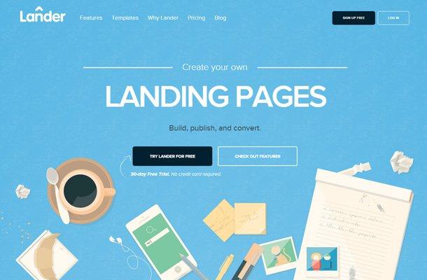 lander app landingpage webapp blue