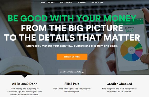 mint money management website homepage