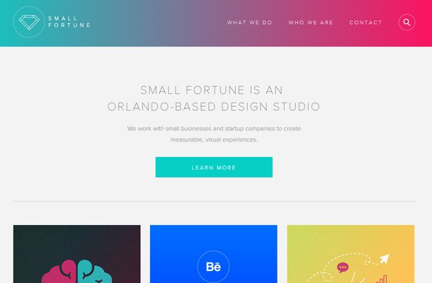 small fortune website homepage layout