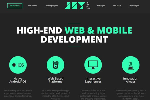 joy interactive dark website design