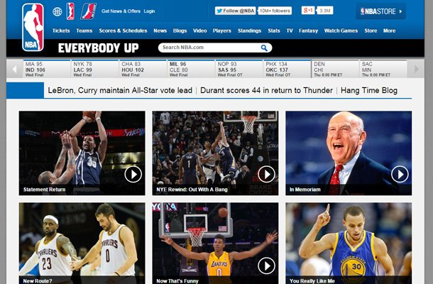 national basketball association website nba layout