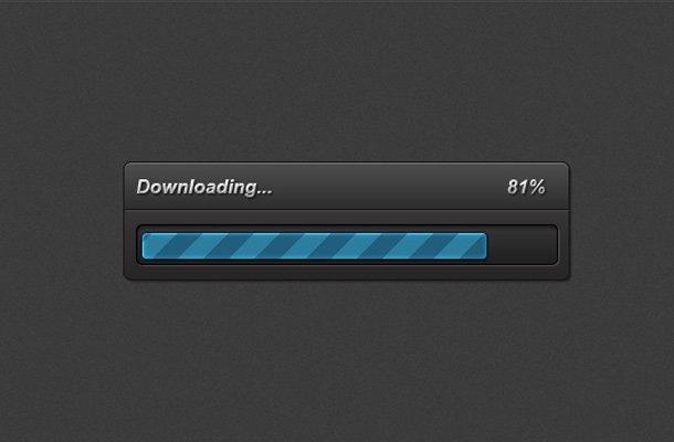 bright blue striped progress bar