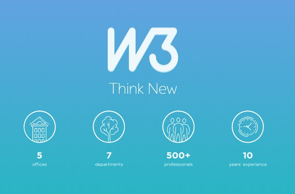 w3 blue gradient background homepage