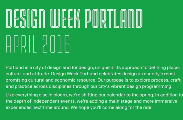 design week portland website layout