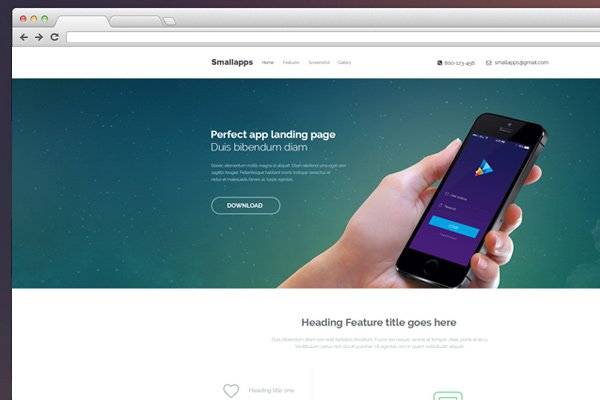 smart app landing page psd freebie design