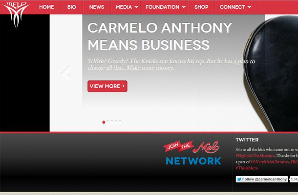 carmelo anthony professional basketball player website