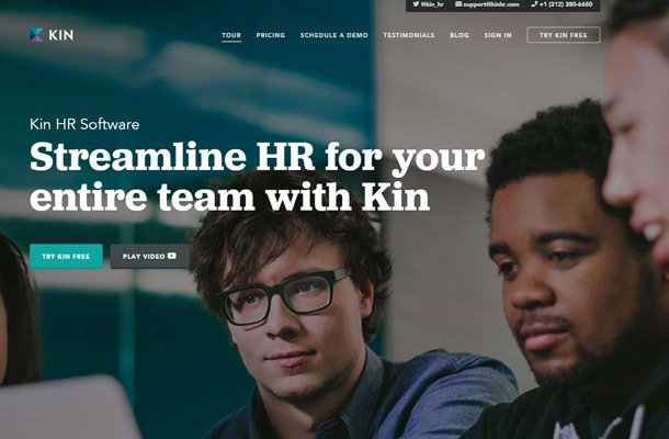 kin hr website typography thin