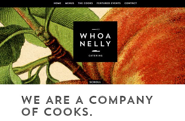 whoa nelly catering homepage layout design