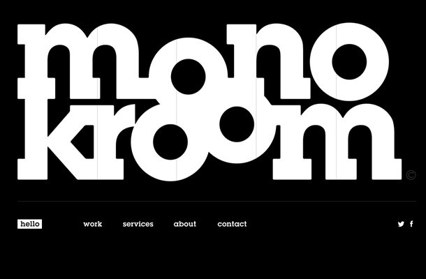 monokroom creative black white agency website