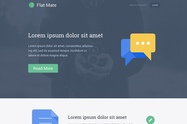flat mate free single page psd freebie download