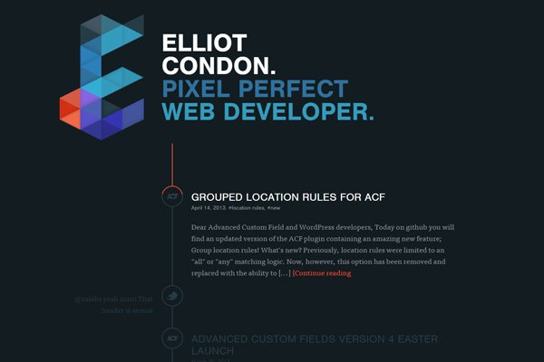 elliot condon dark website portfolio homepage
