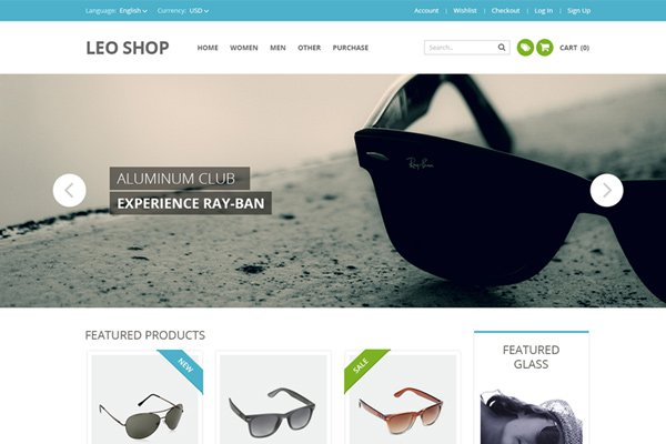 ecommerce leo shop website theme psd freebie download