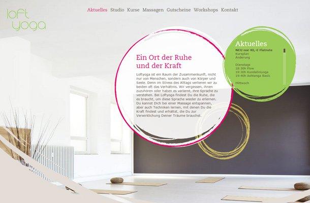 german website loft yoga colorful animation