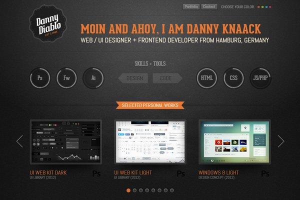 danny knaack dark portfolio texture website
