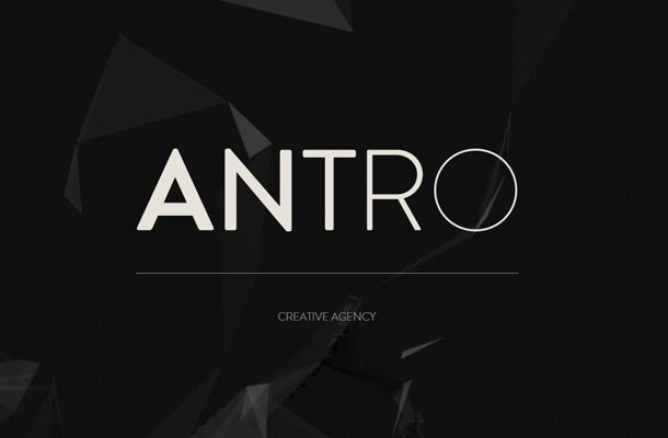 antro creative agency homepage layout