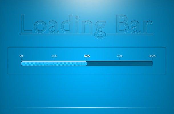 bright shiny blue loading bar psd freebie