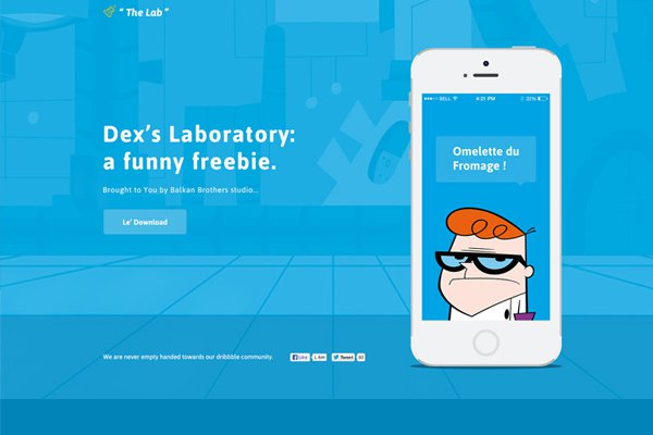 dexters lab blue portfolio psd freebie website mockup