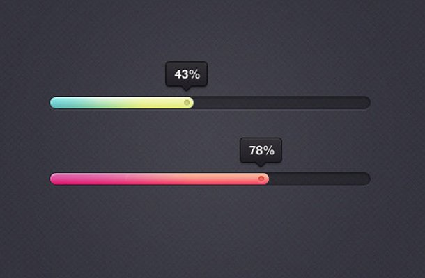 eye candy colorful percentage bars ui design
