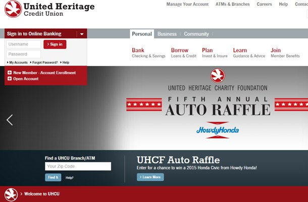 united heritage credit union website design