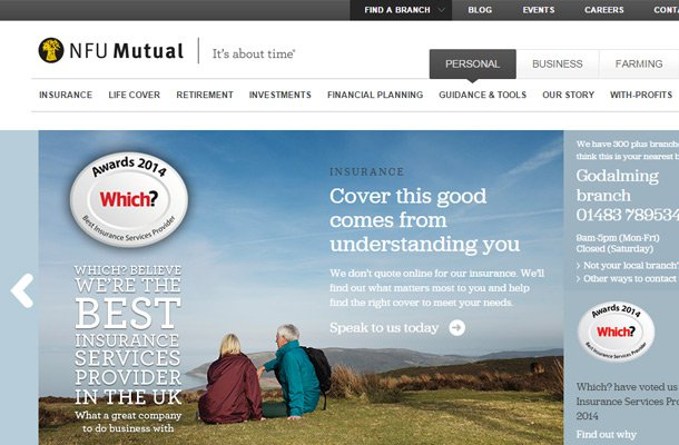 nfu mutual homepage design layout