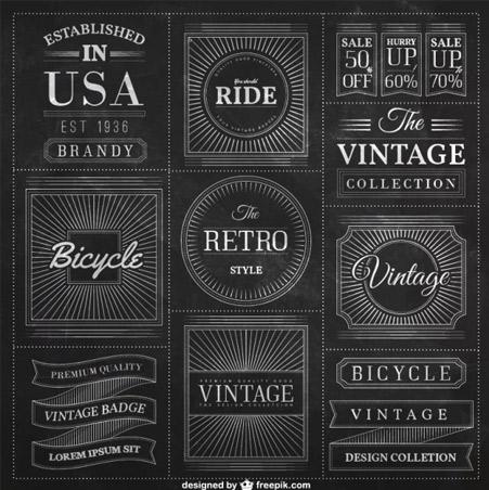 Blackboard-badges-in-vintage-style