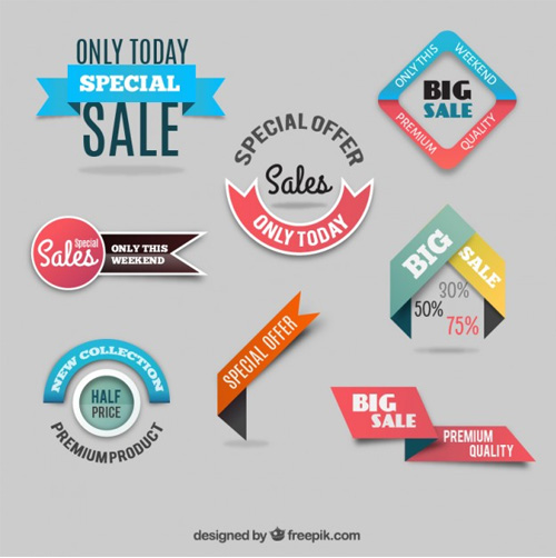 Discount-labels-collection Ribbon Vector Freebies