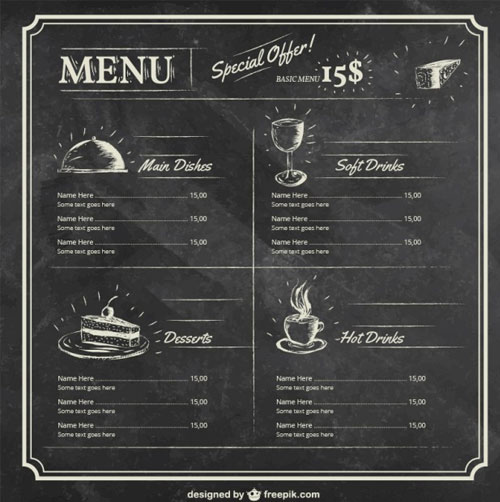 Menu-template-on-blackboard